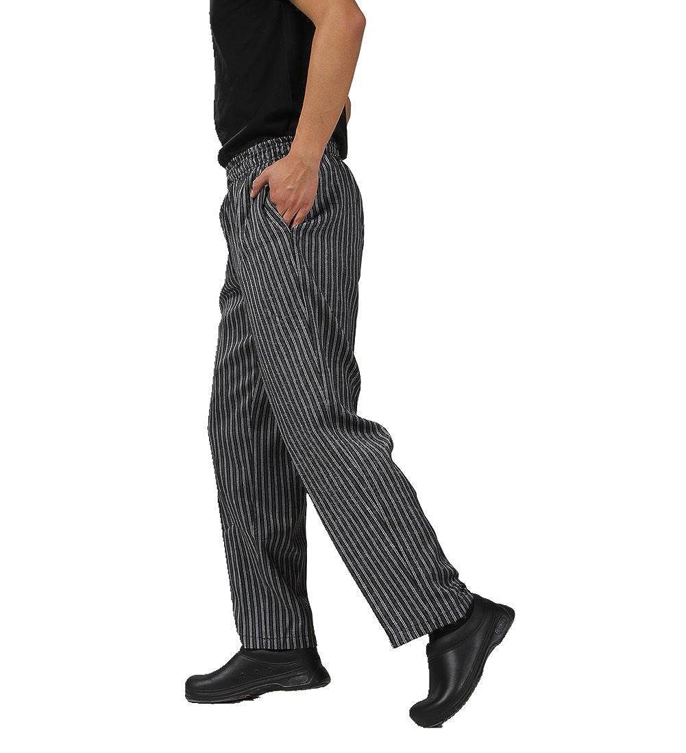 JXH Chef Uniforms men's black grey striped chef pants with elastic waist