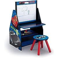 3 in 1 Holz Schreibtisch mit Hocker + Maltafel + Spielzeugregal + Spielzeugkiste Tisch Sitzgruppe Stuhl Tafel Regal Organzier