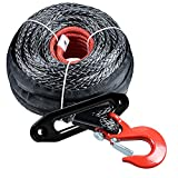 """Astra Depot Black 92ft x 1/2"""" Synthetic Winch Rope Line Cable Protective Sleeve w/RED Hook + 10"""" CNC Aluminum Anodized RED Hawse Fairlead Compatible with Jeep Accessories ATV UTV KFI Truck Ramsey"""
