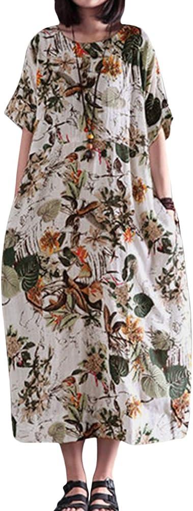 Vestido De Lino para Mujer Vintage Shift Floral Algodón Verano Talla Grande Maxi Vestidos Amarillo S: Amazon.es: Ropa y accesorios