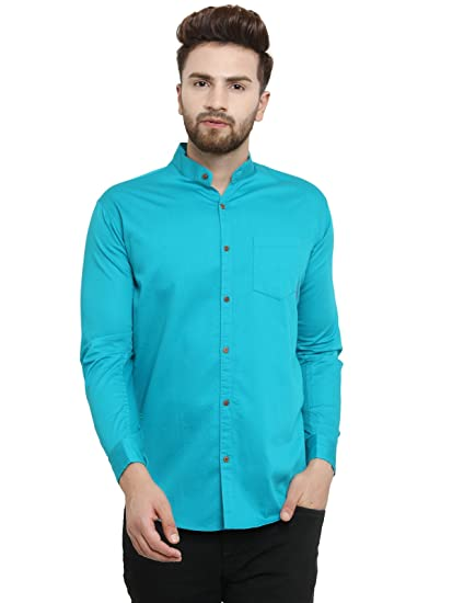 94751865aac Pacman Sea Green Slim Fit Cotton Mens Smart Formal Shirt SHFS0075   Amazon.in  Clothing   Accessories