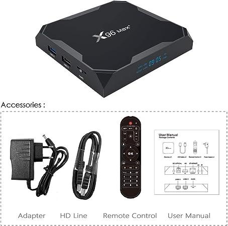 LFYPSM X96 MAX Plus Smart TV Box Android9.0 Amlogic Quad Core 4GB 32GB 64GB 5.0G WIIF BT4.0 8K Red Set-Top Box,2+16G: Amazon.es: Hogar