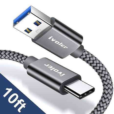 iVoler Cable USB Tipo C a USB A 3.0 [10ft] Cargador USB Tipo C de Nylon Trenzado Carga Rápida y Sincronización Compatible con Samsung, Xiaomi, Huawei ...