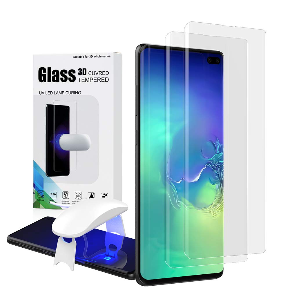 Galaxy S10 Plus Tempered Glass, S10 Plus Screen Protector, Fingerprint Scaner 3D Liquid Transparent Clear Full Curved Edge Case Friendly Anti-Scratch Coverage for Samsung Galaxy S10 Plus 2019-2 Pack