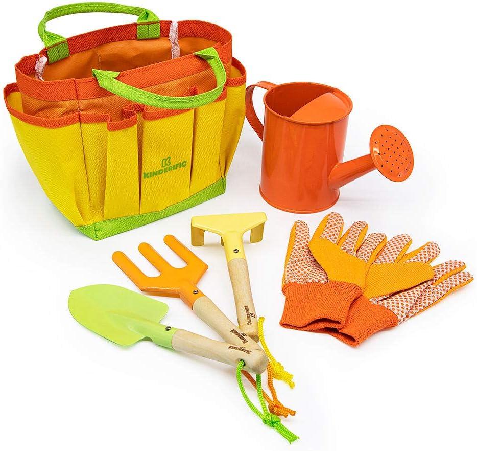 Kinderific Gardening Tool Set, Designed for Kids, STEM, Tote Bag, Spade, Watering Can, Rake, Fork, Trowel, Gloves: Toys & Games