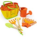 Kinderific Gardening Tool Set, Designed for Kids, STEM, Tote Bag, Spade, Watering Can, Rake, Fork, Trowel, Gloves