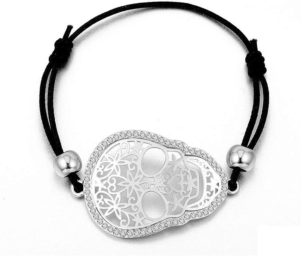 BLINGBRY Diamantes de imitación de Moda Color Dorado Calavera Pulseras con dijes Joyas de Cadena de Palomitas de maíz para Mujeres Pareja