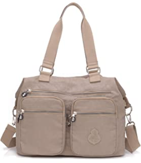 89d6b8eed4f5 Women's Water-resistant Nylon Top Handle Handbag Large Travel Purse  Shoulder Totes,Crossbody Shoulder