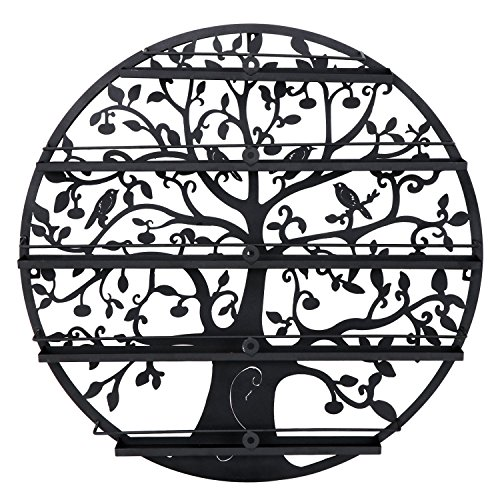 Wall Mounted 5 Tier Nail Polish Rack Holder - Round Metal Salon Wall Art Display (Holds up to 70 Bottles) (Black)