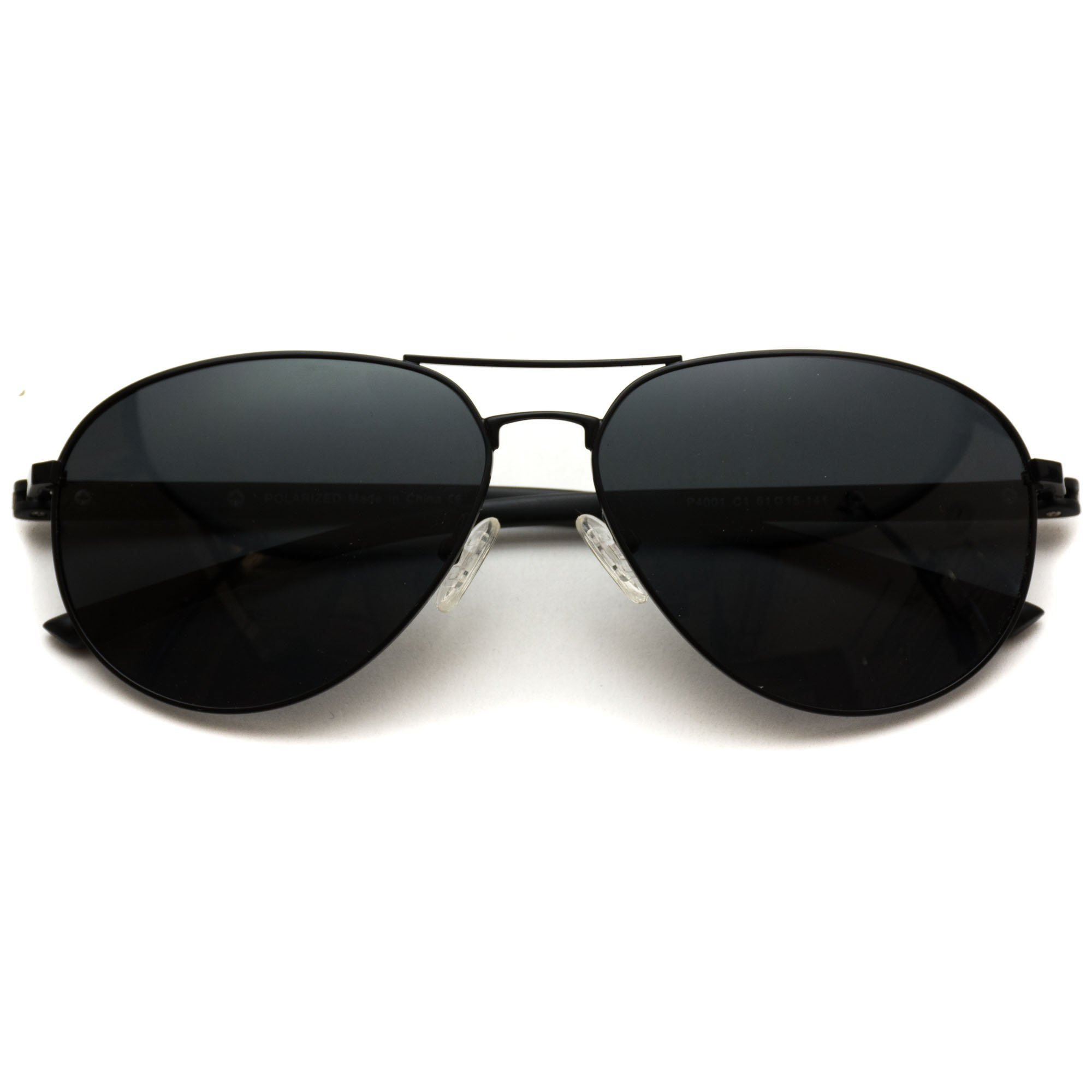 WearMe Pro - Classic Black Frame Black Lens Metal Frame Aviator Sunglasses by WearMe Pro