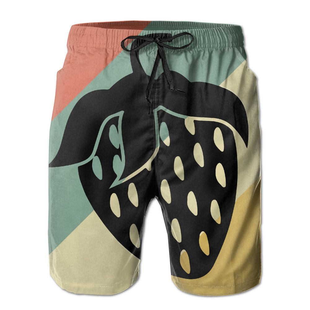 Strawberry Vintage Silhouette Summer Mens Quick-Drying Swim Trunks Beach Shorts