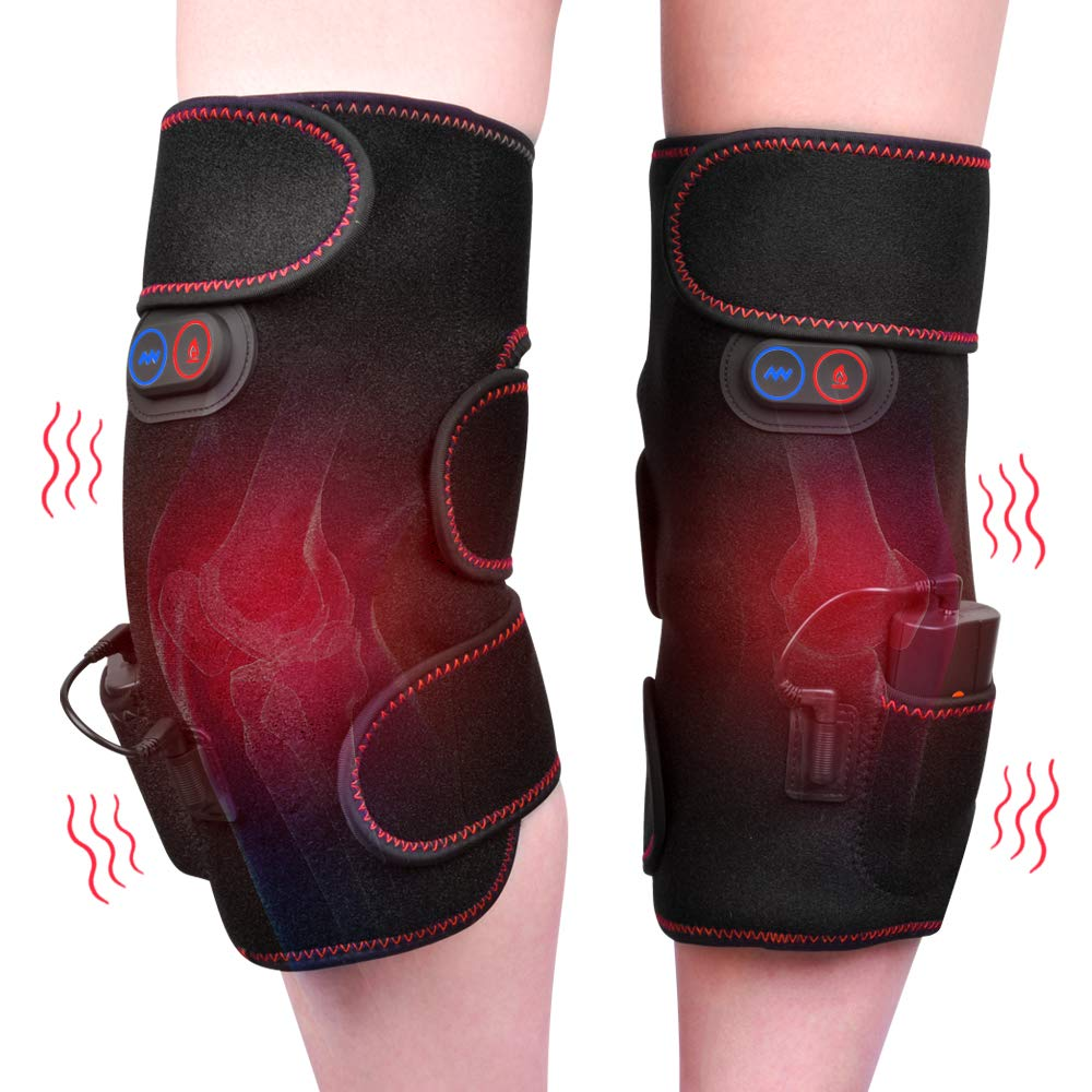 Wireless Knee Massager Heated Vibration Therapy Knee Brace Wrap Knee Physiotherapy Massager for Pain Relief - Arthritis Injury Recovery - 2pcs for Left and Right - Wireless Powered by Portable Charger by HailiCare