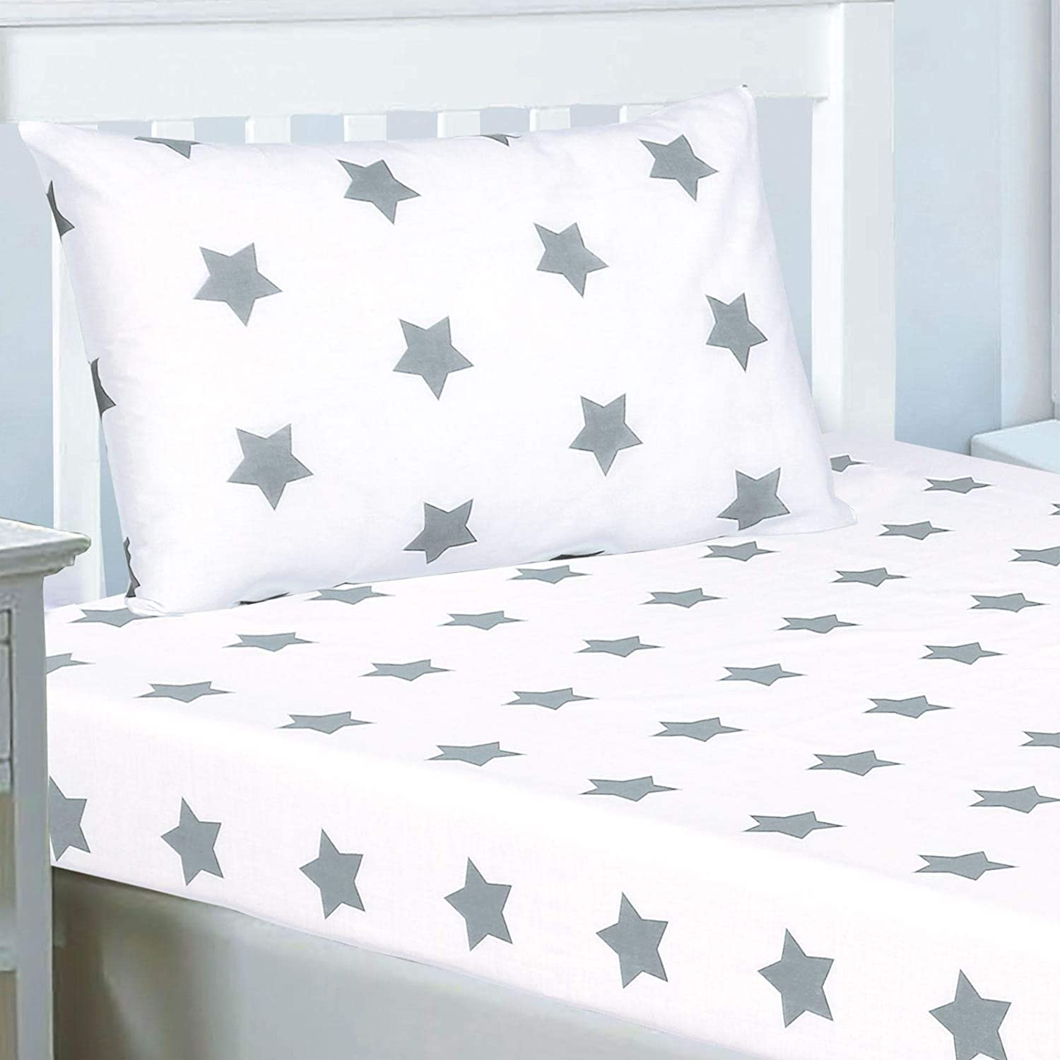 Rapport Grey and White Stars Double Fitted Sheet and Pillowcase Set