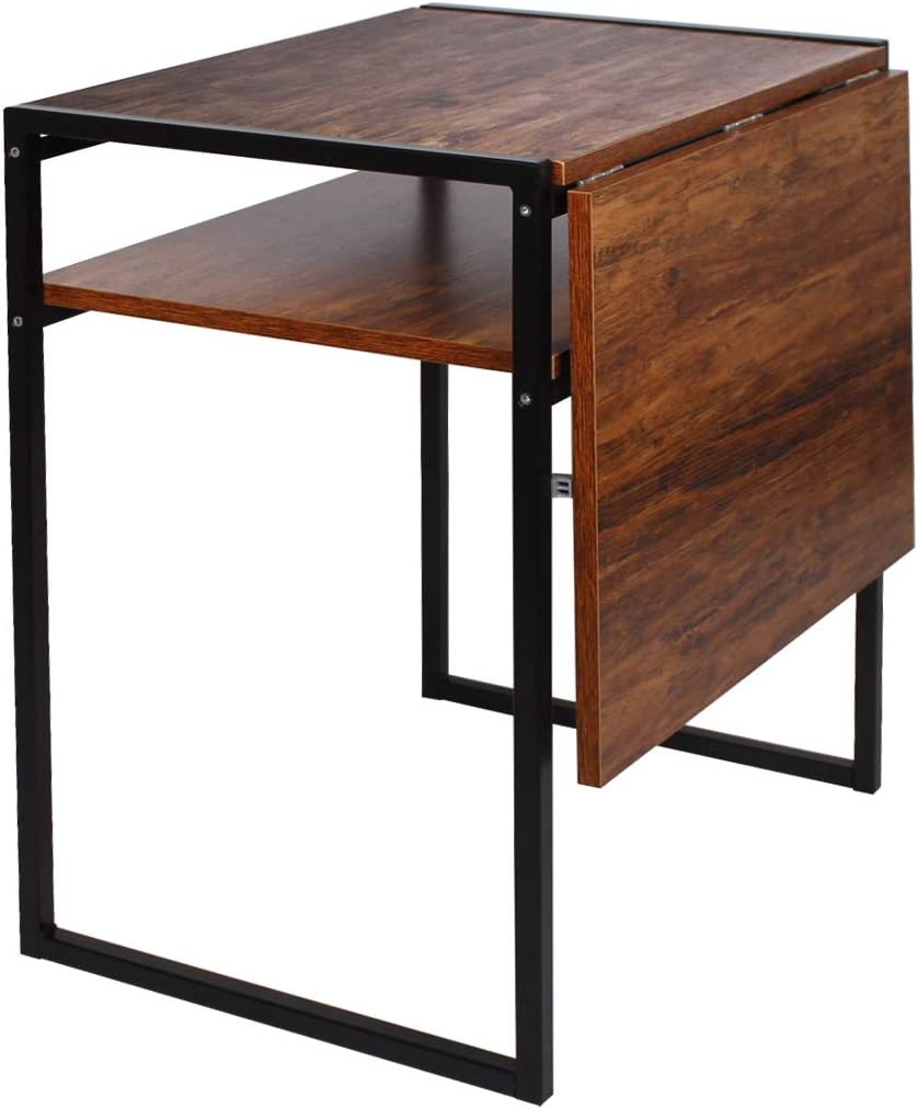 Amazon Com Folding Dining Table Compact Drop Leaf Table For Small Spaces Multifunction Expandable Table Corner Laptop Desk Workstation Dark Brown Tables
