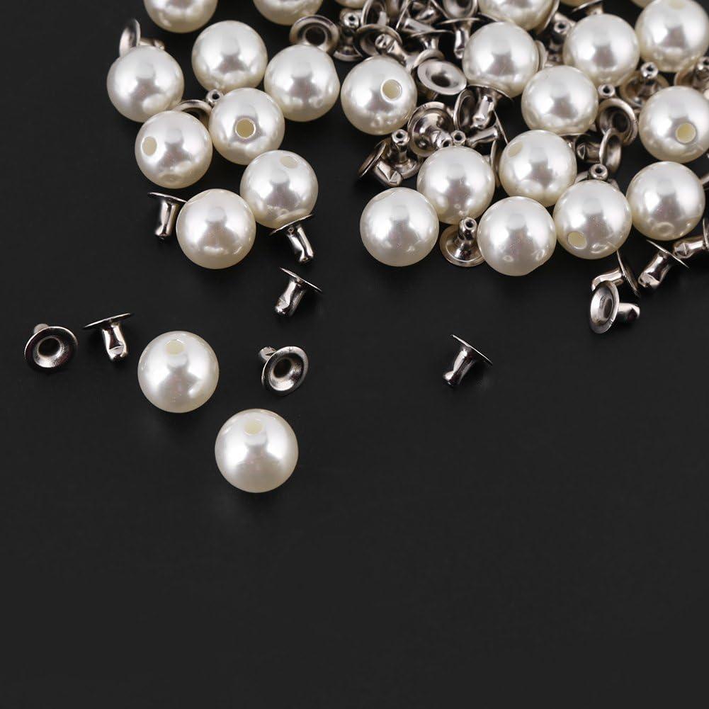 para decoraci/ón de obras de artesan/ía 8 mm Remaches de perlas blancas de 6 mm 10 mm 12 mm color blanco vaqueros y bolsas