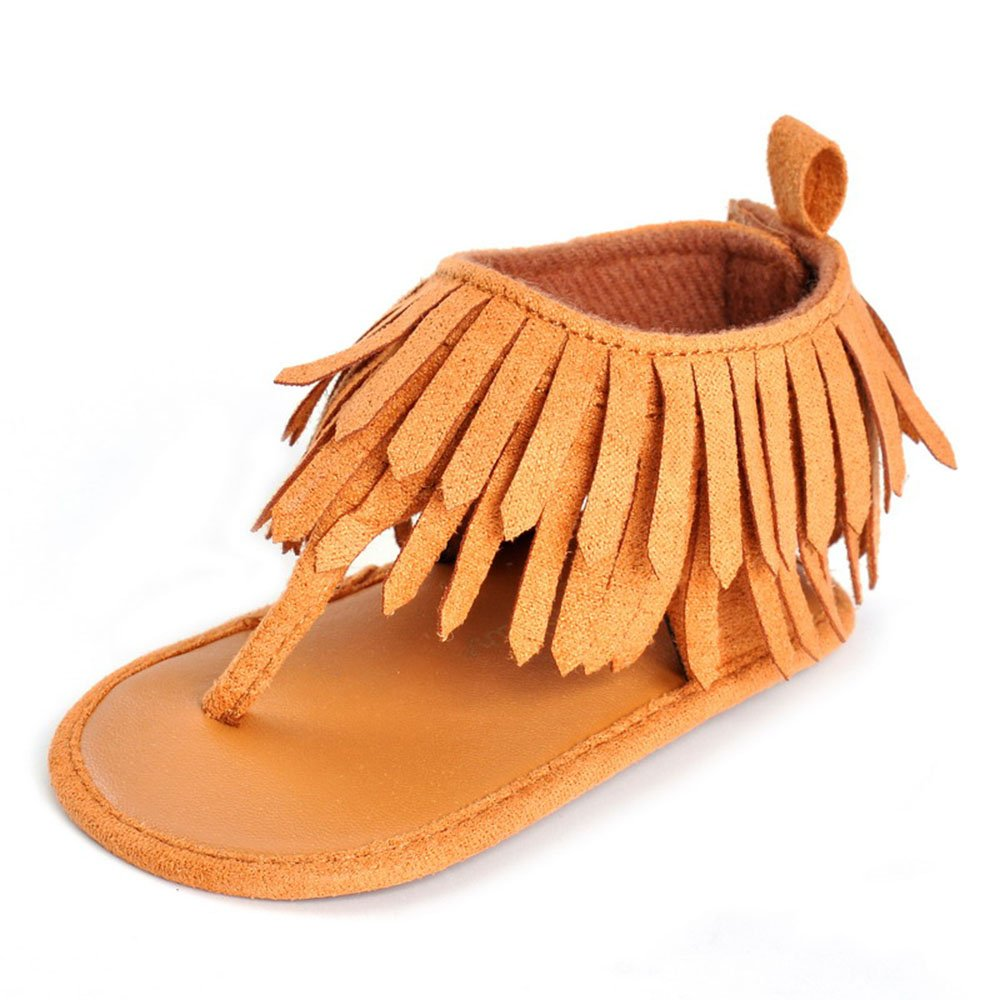 LIVEBOX Infant Baby Girls Moccasins Tassels Premium Soft Rubber Sole Anti-Slip Summer Prewalker Toddler Sandals