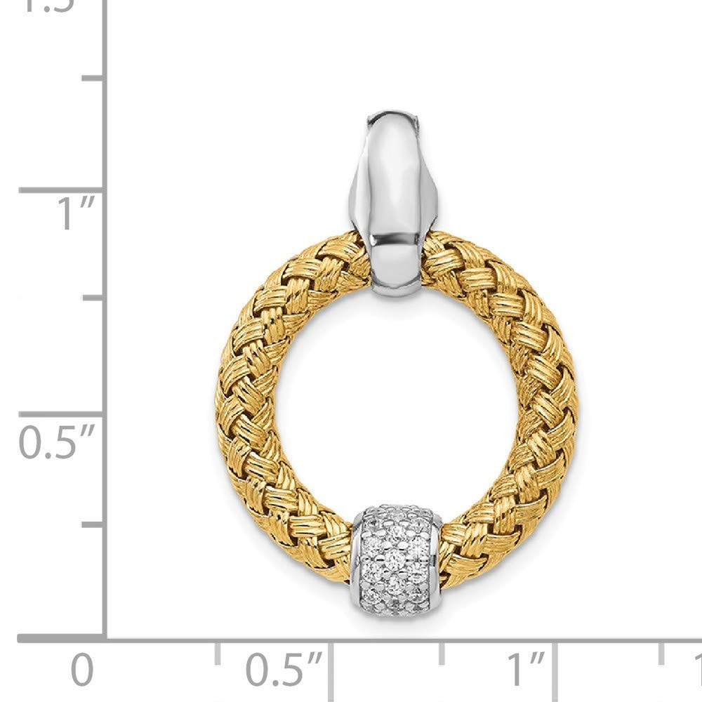 925 Sterling Silver Gold-tone Cubic Zirconia Polished Woven Pendant