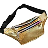 Holographic Fanny Packs for Women - Festival Waist Pack for Women with Iridescent Colors (Crocodile Gold)
