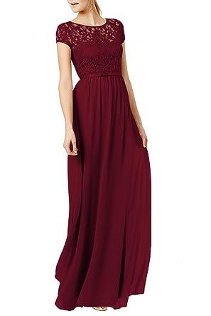 Amazon.com: REPHYLLIS Women\'s Lace Cap Sleeve Evening Party Maxi ...