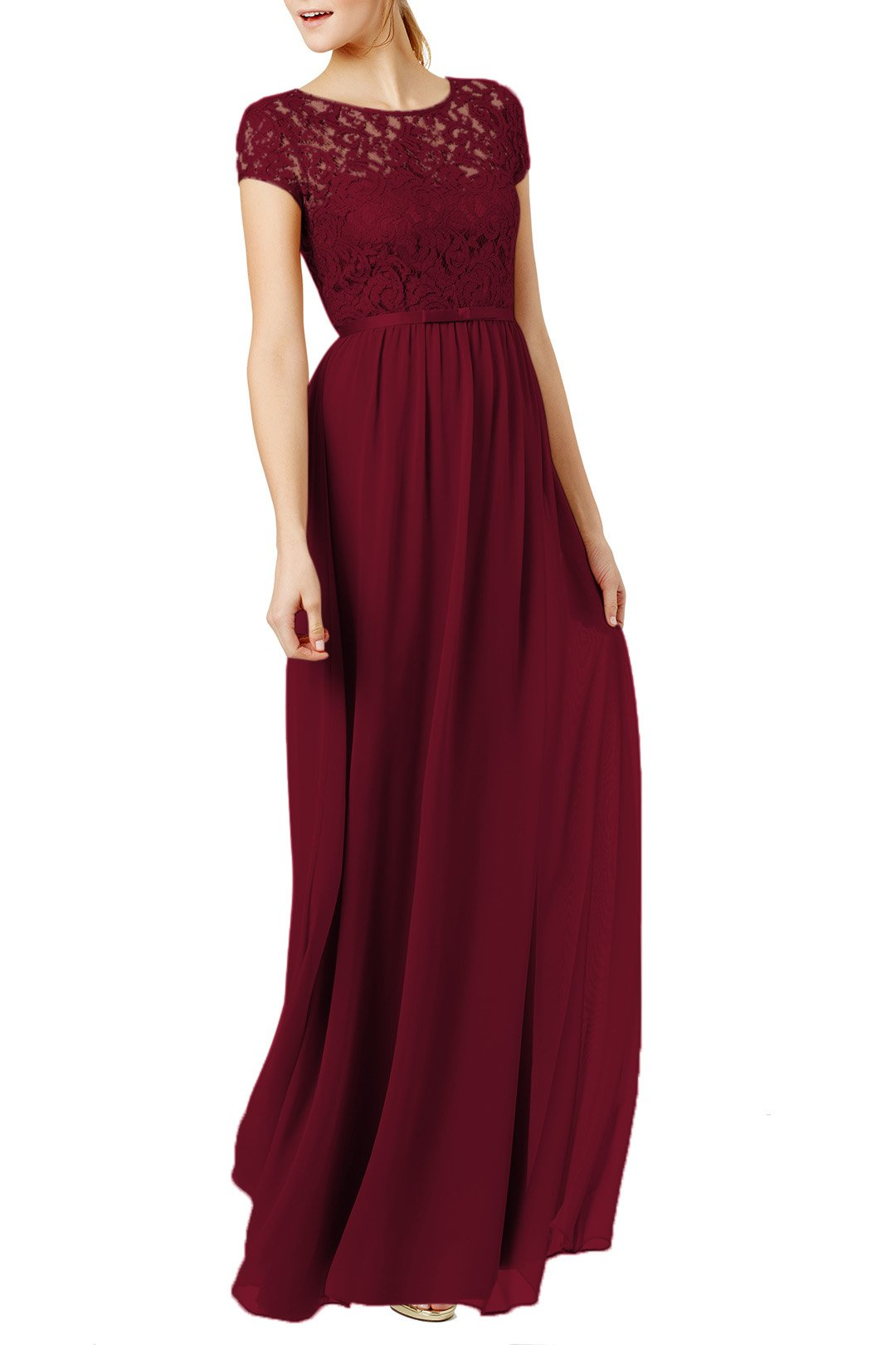 REPHYLLIS Women's Lace Cap Sleeve Evening Party Maxi Wedding Dress(XL,Burgundy)