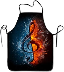 NVJUI JUFOPL Cooking Kitchen Baking Gardening Haircut Cute Apron Gift Funny Bib Aprons for Women Men Chef - Treble Clef in Fire and Water Music Art Image