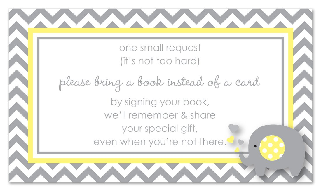 Amazon.com: 48 Grey Yellow Elephant Bring a Book Baby Shower Card ...