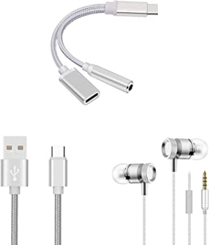 Shot Case Pack para Xiaomi Mi A2 (Adaptador Tipo C/Jack + Cable Cargador de Metal Tipo C + Auriculares metálicos) (Plata): Amazon.es: Electrónica