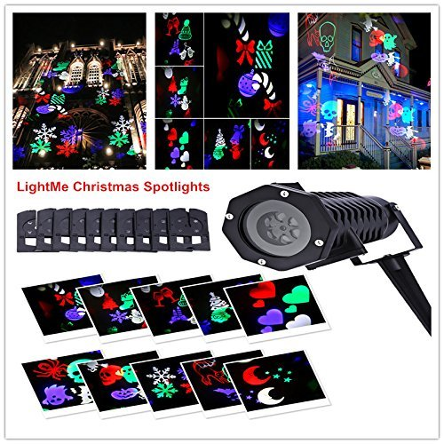LightMe Outdoor Snowflake Spotlights, Waterproof LED Projection Lamp Auto Moving Landscape Light with 10PCS Switchable Pattern Cards for Christmas, Landscape, Party, Home Decor, etc. (Colorful Light) by LightMe (Image #7)