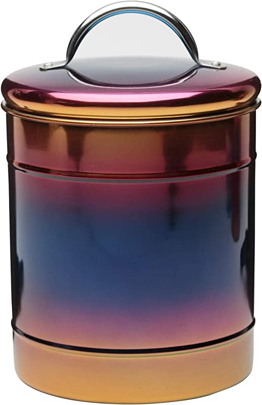 Amici Home Rainbow Metal Canister, Decorative Metal Storage Container with Luster Finish and Gasket Lined Lid, 64 Ounce Capacity (Large)