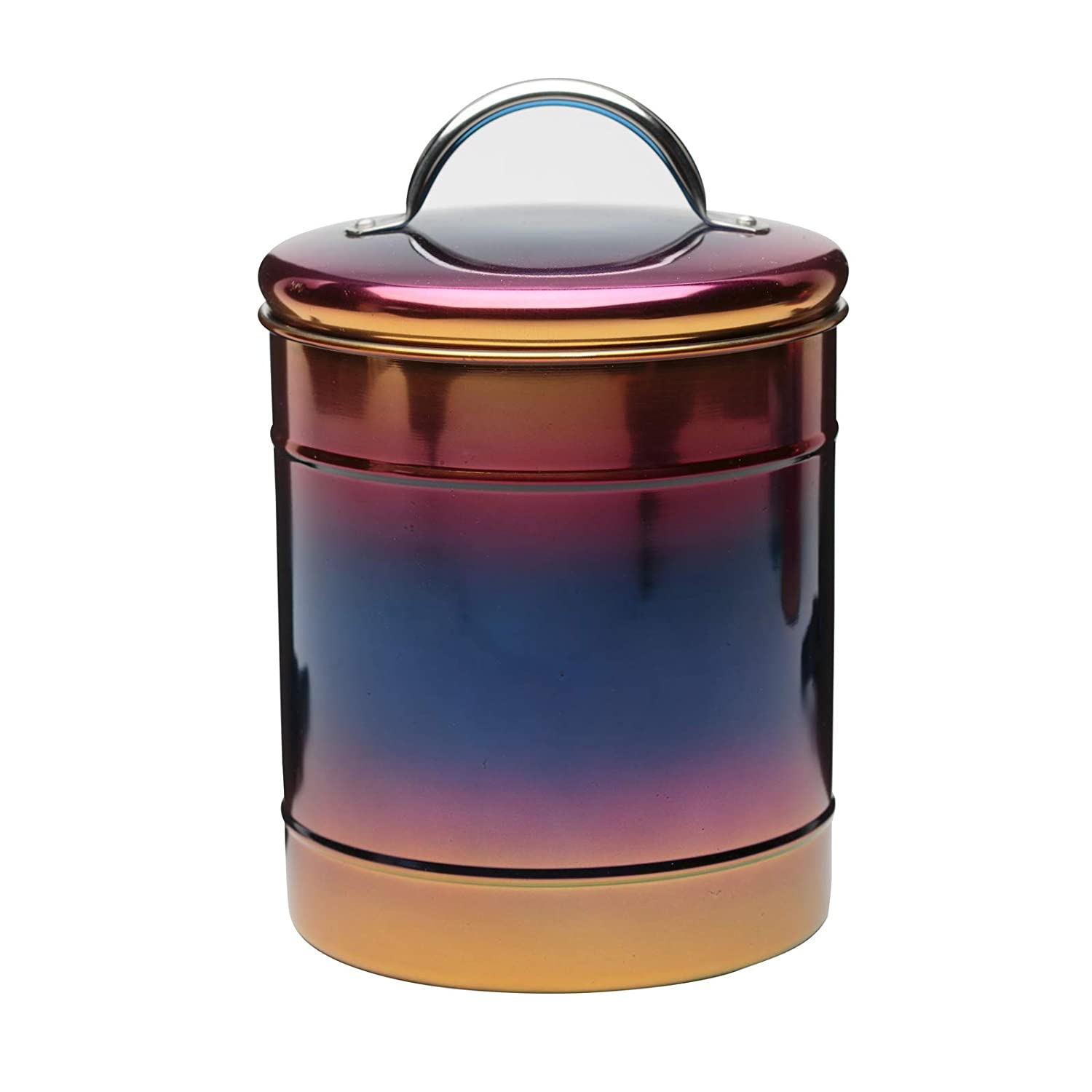 64 Ounce Capacity Amici Home Rainbow Metal Canister Large 5AN848R Decorative Metal Storage Container with Luster Finish and Gasket Lined Lid