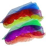 6 Foulards à jongler 65cm, Vert, Violet, Orange, Bleu, Rouge, Jaune