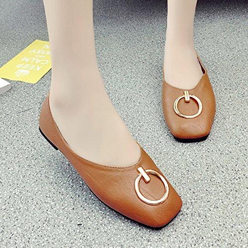 RUGAI-UE Vintage Vintage Verano sandalias de fondo plano de luz plana boca redonda talón hebilla zapatos de mujer Brown