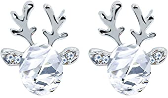 542591a7c6 ... Dylandy Fashion Antlers Earrings Elegant Crystal Gemstone Reindeer  Earrings Studs Three Dimensional Jewelry Accessories For Women ...