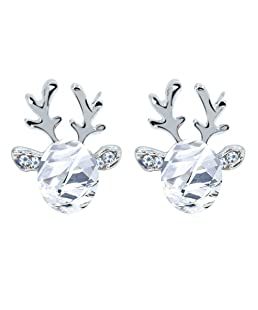 Dylandy Fashion Earrings Elegant Crystal Gemstone Reindeer Earrings Studs Three-dimensional Jewelry Accessories Girls Birthdays Christmas Gifts