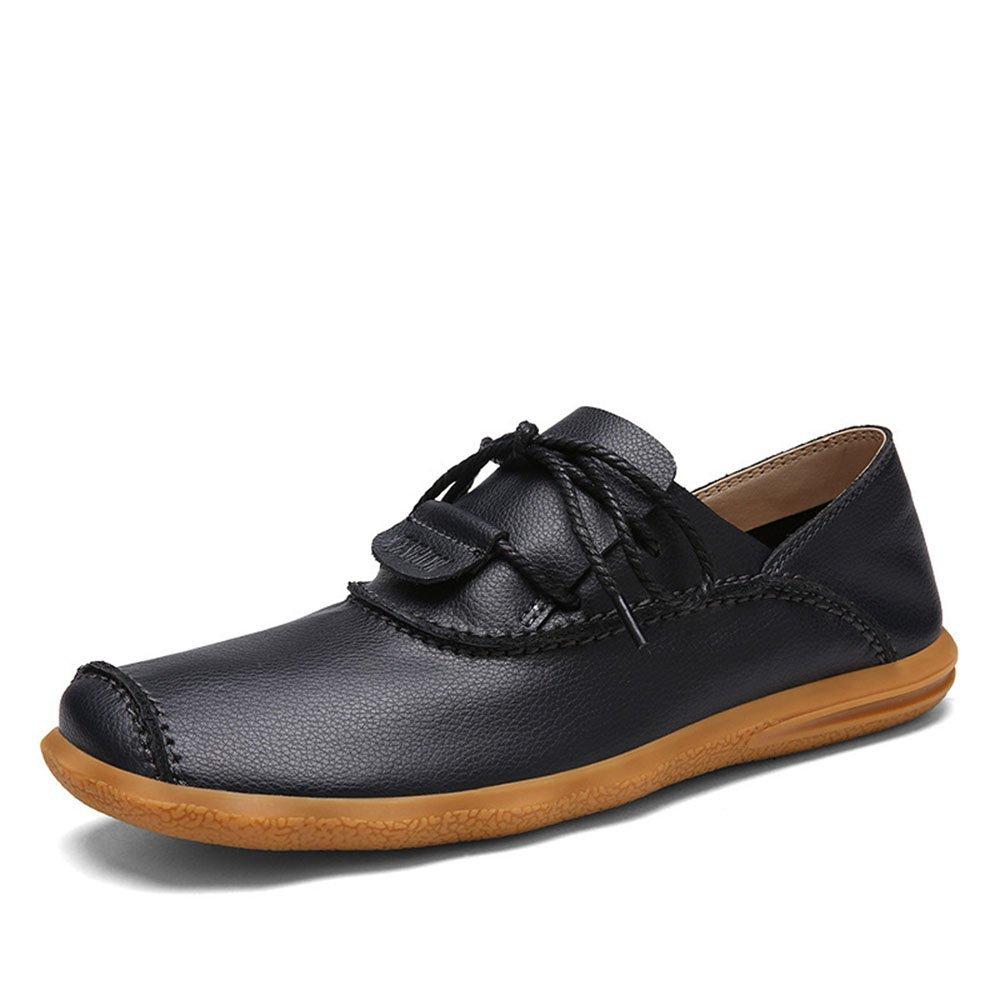 Mocasines para Caminar Zapatos Casuales de Negocios para Hombres Zapatos cosidos de Guisantes para Hombres Zapatos de Barco 42 EU|Negro