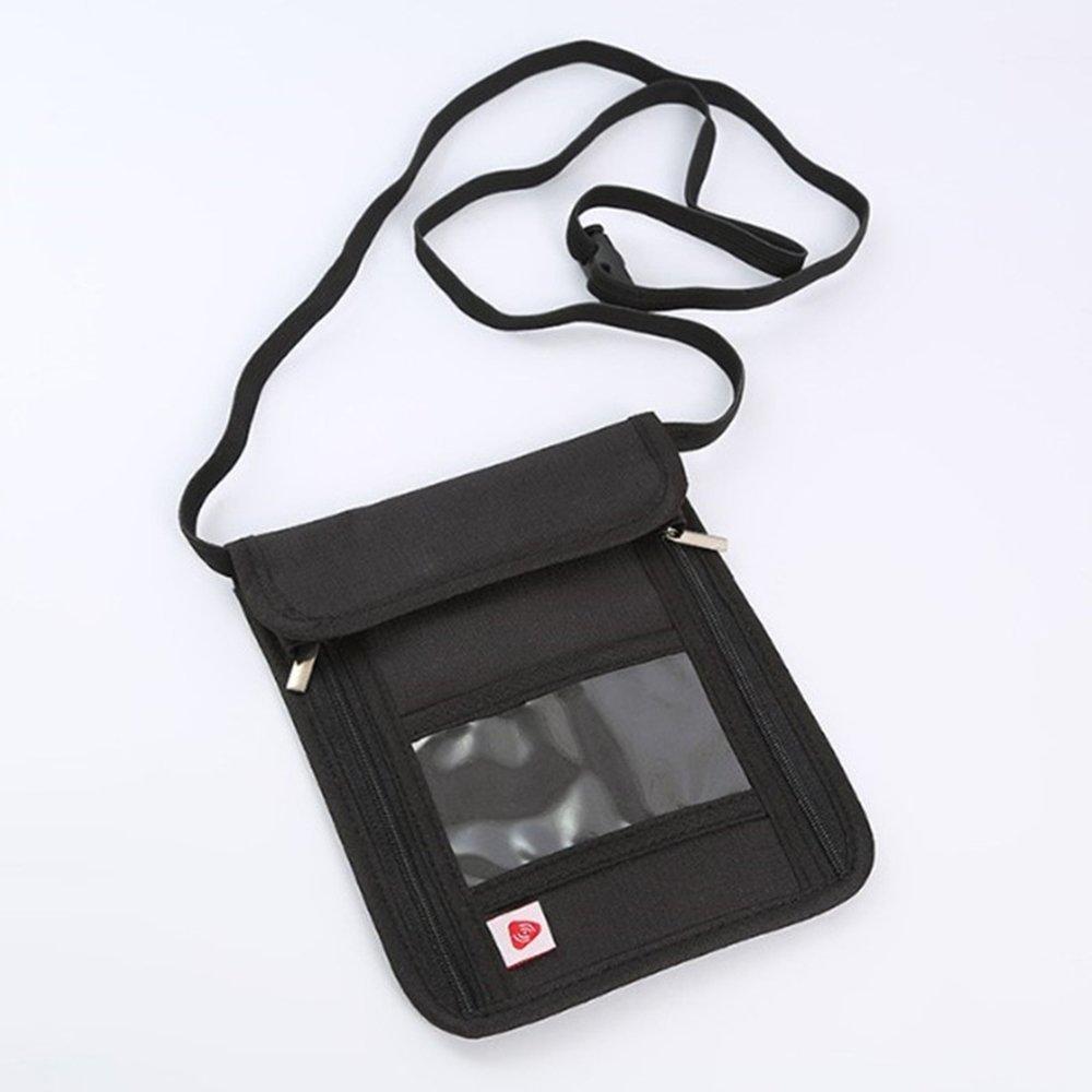 RFID anti-theft folder,travel passport bag, multifunctional hanging neck bag black by CutePaw (Image #3)