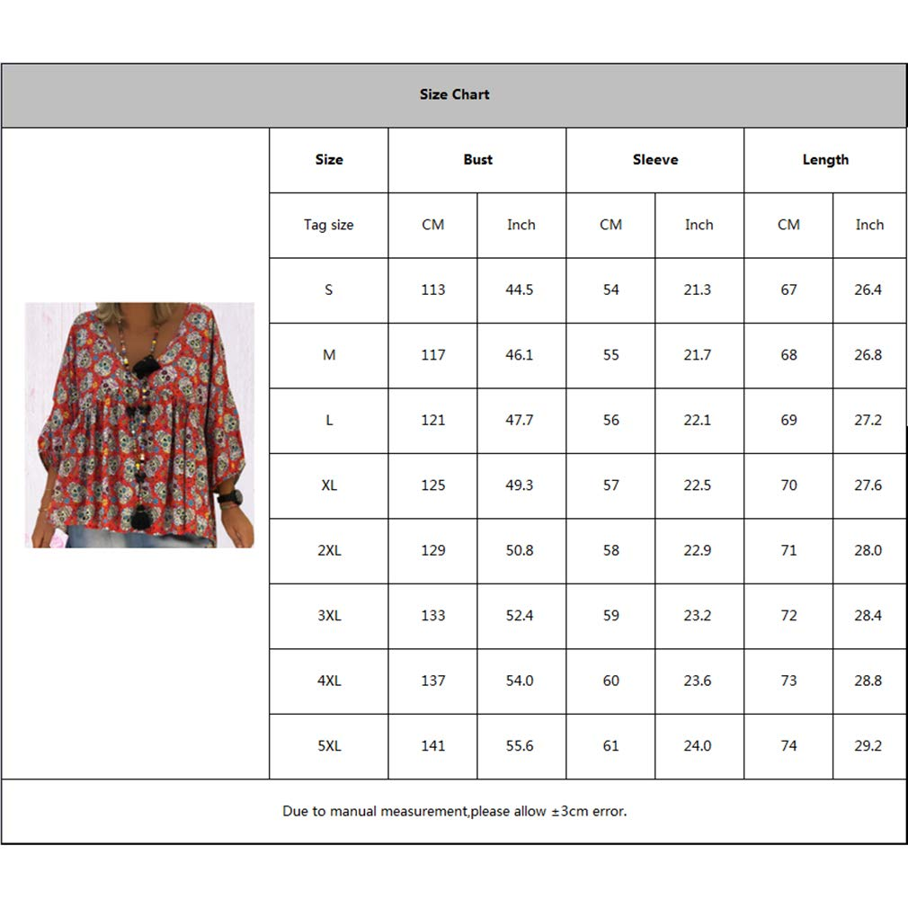 Frauen Casual Skull Print 3//4 Oberteile Bluse Pullover T-Shirt Tops S-5XL