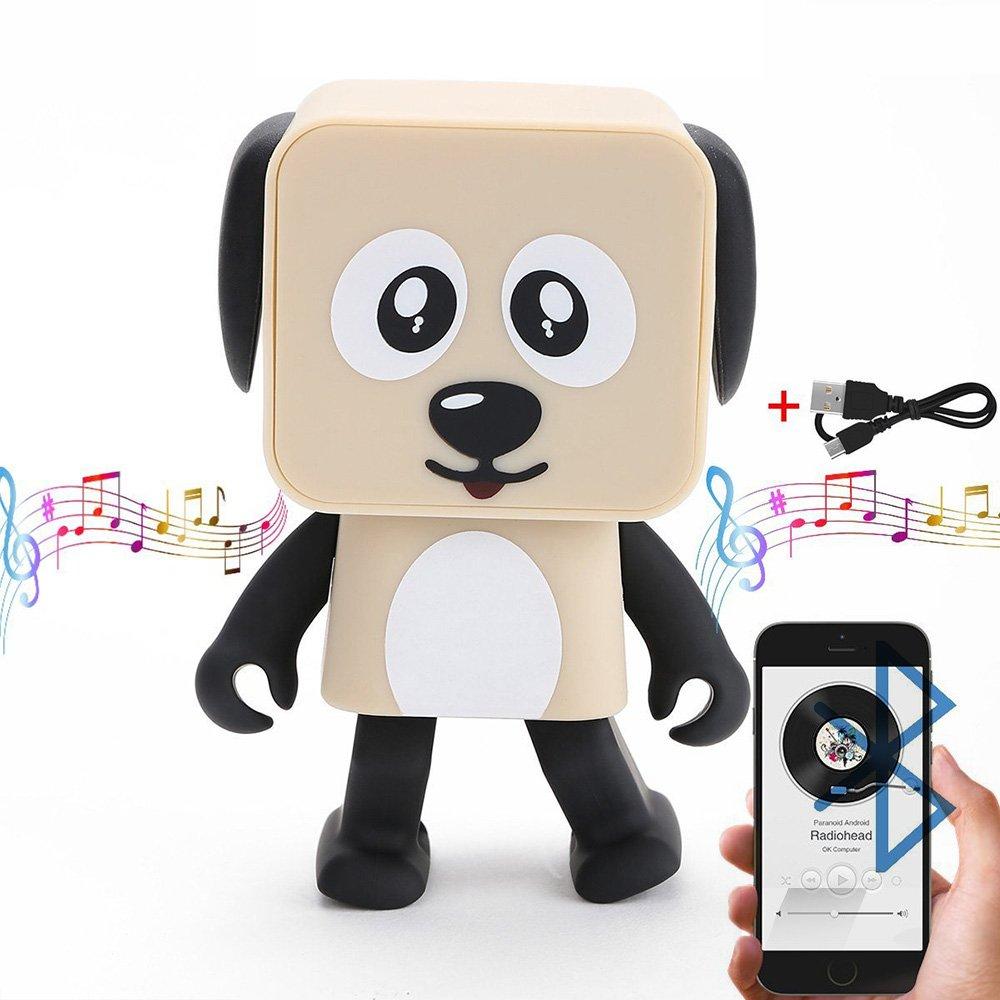 HanDingSM Bluetooth Lautsprecher, Drahtloser Bluetooth Tanz-Roboter-Hundelautsprecher, Stereo Bass Sound Bluetooth Musik Lautsprecher (Beige)