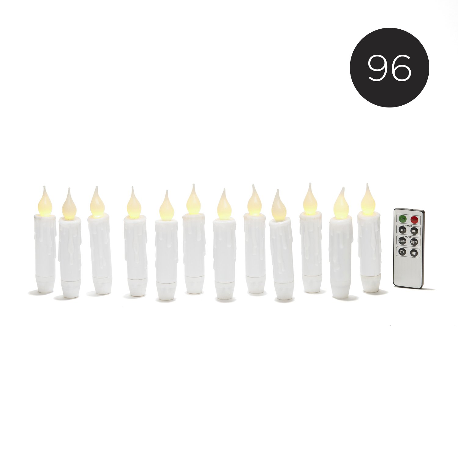5'' Mini White Flameless Taper Candles with Remote | BULK VALUE SET | 96 Candles, Resin, Drip Detail, Indoor and Outdoor Use, Timer Option