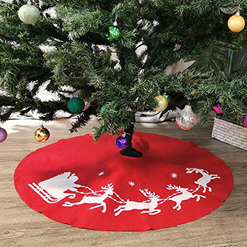 NIKKY HOME Christmas Tree Skirt Holiday Ornaments 40 inch, Red