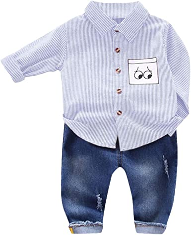 0-5 Años, SO-buts Recién Nacido Infantil Niño Bebés Caballeros Traje De Rayas Camisa De Dibujos Animados Blusa + Jeans Pantalones Trajes Conjunto Ropa De Otoño: Amazon.es: Ropa y accesorios
