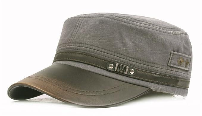 e2707b4c6a Roffatide Mens Cotton Leather Brim Military Cadet Army Caps Unique Design  Vintage Flat Top Hat