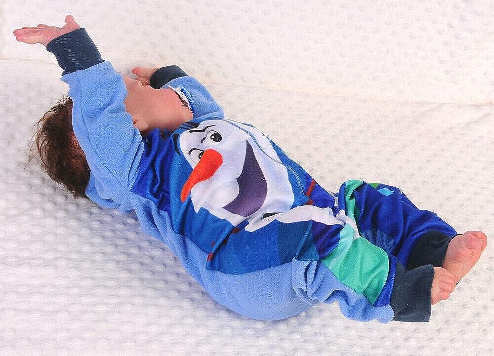 Pyjama Frozen Disney Schlafanzug Overall Strampler Rei/ßverschluss Fleece Olaf