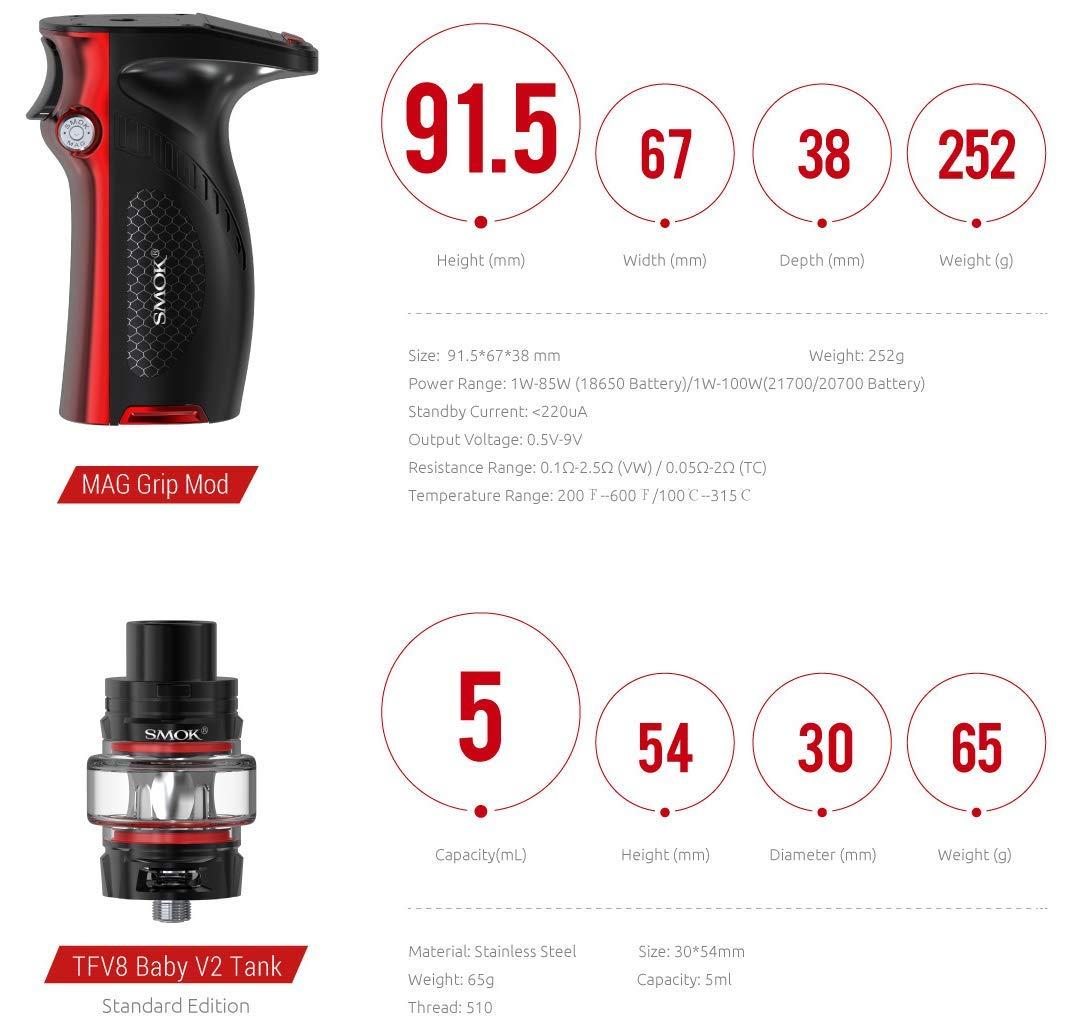 SMOK Mag Grip Kit TFV8 Baby V2 Tank 5ml - Juego de ...