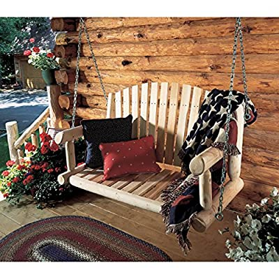 Rustic Natural Cedar Furniture 4 ft. Log Porch Swing