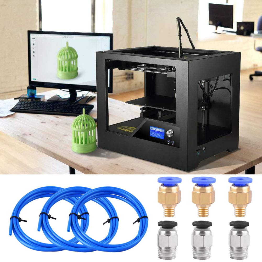with 3 Pieces PC4-M6 Fittings and 3 Pieces PC4-M10 Male Straight Pneumatic PEFE Tube Push Fitting Connector for 3D Printer 1.75mm Filament 1.5 Meters SIQUK 3 Pieces Teflon Tube PTFE Blue Tubing