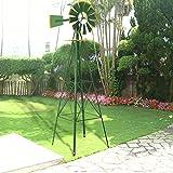 GHP 8Ft Green/Yellow Garden Tall Ornamental Windmill Weather Vane