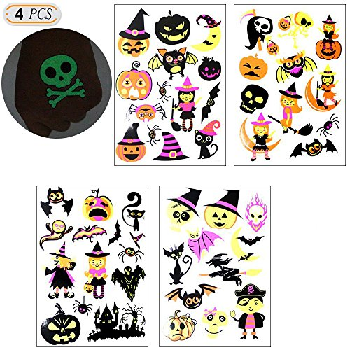 Hisight Temporary art tattoo Decal Halloween Decor Creative Pumpkin Human skeleton Patch Luminous Sticker Fluorescent Decorative Night Glow Decal for Party Halloween Character Clings Party Accessory.