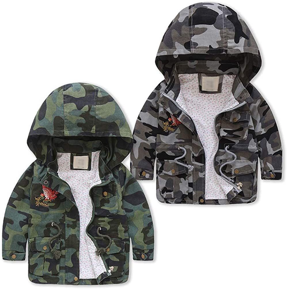 Happy childhood Little Boys Hooded Warmth Spring Autumn Camouflage Windbreaker Jackets Adorable Outwear Overcoats