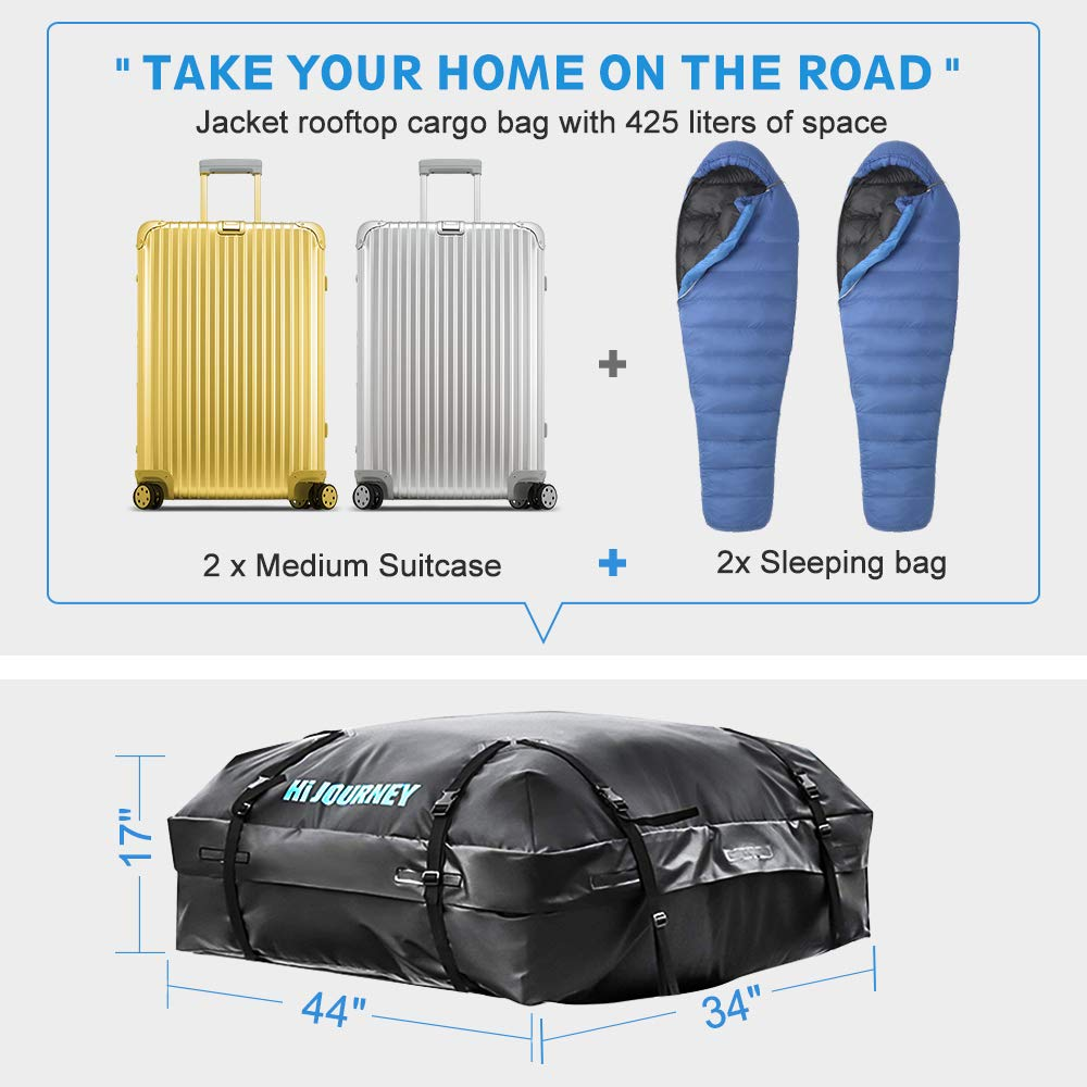 Large Capacity 15 Cubic Feet Soft Shell Luggage Storage Bag for Vehicles with//Without Roof Racks Rabbitgoo Rooftop Cargo Carrier Waterproof Car Roof Top Cargo Bag with Heavy Duty Straps